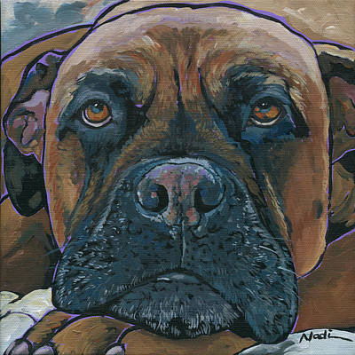 Mastiff Dog Painting - Lillie by Nadi Spencer