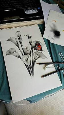 Drawing - Lillies by Christopher Kyle