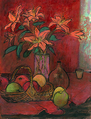 Still Life With Green Apples Painting - Lillies by Ethel Vrana