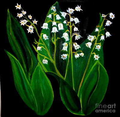 Flourishes Drawing - Lillies Of The Valley by Nancy Rucker