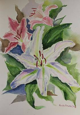 Painting - Lillies Watercolor Still Life by Geeta Biswas