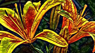 Digital Art - Lilly Fire by Laurie Williams