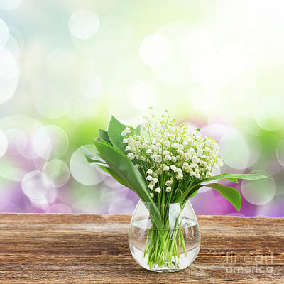 Lilly Of Valley Posy In Glass Art Print
