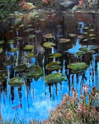 Lilly Pads And Reflections Art Print by Barbara O'Toole