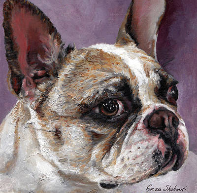 Bulldog Oil Painting - Lilly The French Bulldog by Enzie Shahmiri