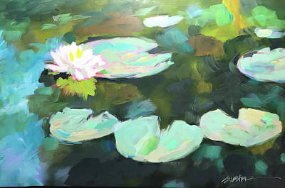 Painting - Lillypad Reflections by Steven Lester