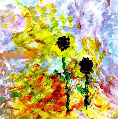 Digital Sunflower Painting - Lilly's Sunflowers by Phillip McKnight