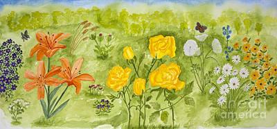 Lils Flower Garden Original by Conni Schaftenaar