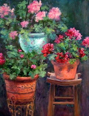 Painting - Lil's Geraniums by Jill Musser