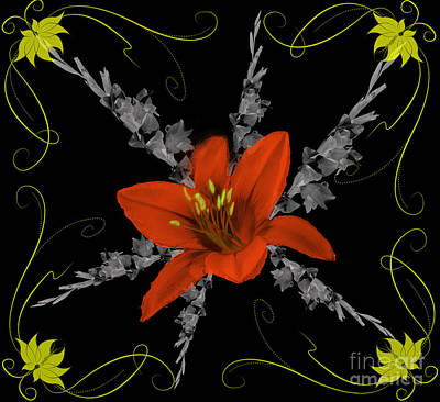 Digital Art - Lily And Gladiolas Abstract by Scott Hervieux