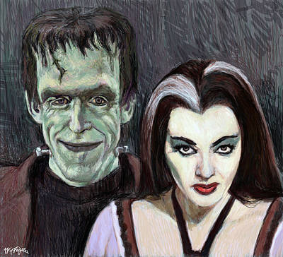 Sit-ins Digital Art - Lily And Herman Munster by Neil Feigeles