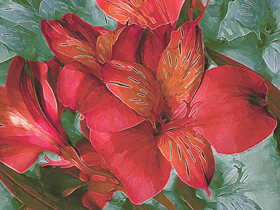 Mixed Media - Lily Bouquet In North Light Red by Lynda Lehmann