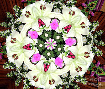 Photograph - Lily Carnation And Daisy Kaleidoscope Mandala by Rose Santuci-Sofranko