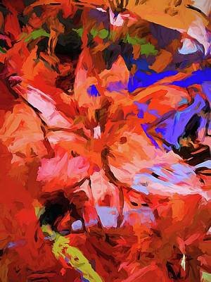 Digital Art - Lily Cobalt Orange by Jackie VanO
