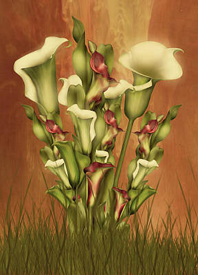 Floral Digital Art - Lily Fantasy By Day by Georgiana Romanovna