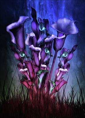 Lilies Mixed Media - Lily Fantasy By Night by Georgiana Romanovna