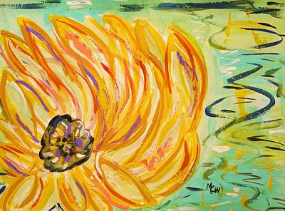 Nature Center Pond Drawing - Lily Float by Mary Carol Williams