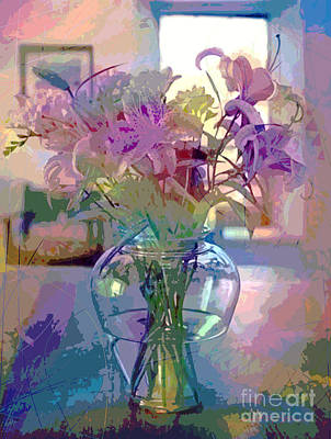 Lily Flowers In Glass Art Print