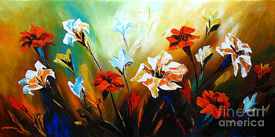 Gerbera Painting - Lily In Bloom by Uma Devi
