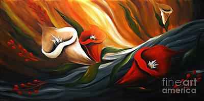Lily In Flow Art Print by Uma Devi