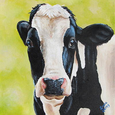 Cow Wall Art - Painting - Lily by Laura Carey