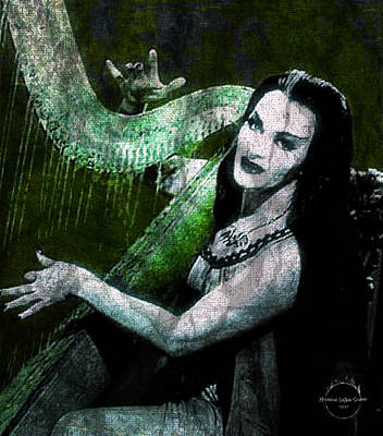 Digital Art - Lily Munster Gothic Harp by Absinthe Art By Michelle LeAnn Scott