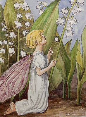 Lily Of The Valley Fairy After Cicely Mary Barker Art Print by Betty-Anne McDonald