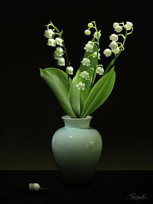 Lily Of The Valley In Vase Art Print by Spadecaller