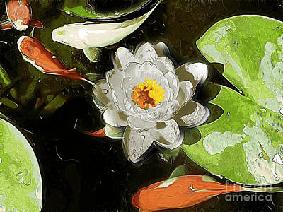 Photograph - Lily Pad And Goldfish by Erica Hanel