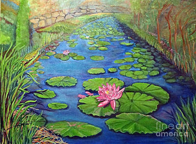 Painting - Water Lily Canal by Ecinja Art Works