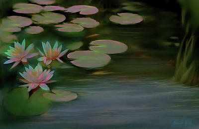 Digital Art - Lily Pad Glow by Bonnie Willis