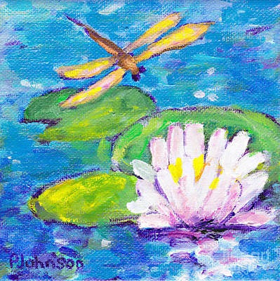 Painting - Lily Pad Guest By Peggy Johnson by Peggy Johnson