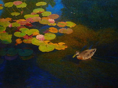 Painting - Lily Pad Patrol by Terry Perham