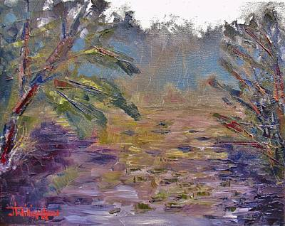 Painting -  Lily Pads On A Pond, Overcast Sky 3pm by Jason Williamson