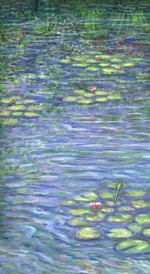 Impressionism Painting - Lily Pads Triptych Part One by Linda Mears