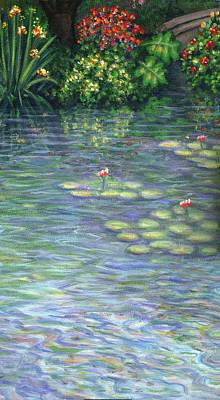 Lily Pads Triptych Part Three Art Print by Linda Mears