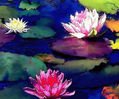 Koi Drawing - Lily Pond by Amanda Schambon