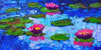 Lotus Leaves Painting - Lily Pond Impression - Pink Waterlilies  by Ana Maria Edulescu