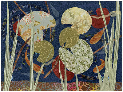 Fabric Mixed Media - Lily Pond by Julia Berkley