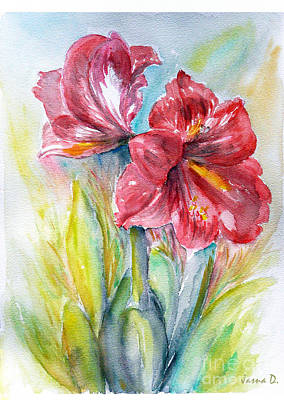 Art Print featuring the painting Lily Red by Jasna Dragun