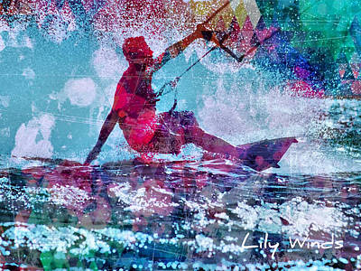 Surf Photograph - Lily Winds Kiteboarder - Enjoy by Lily Winds