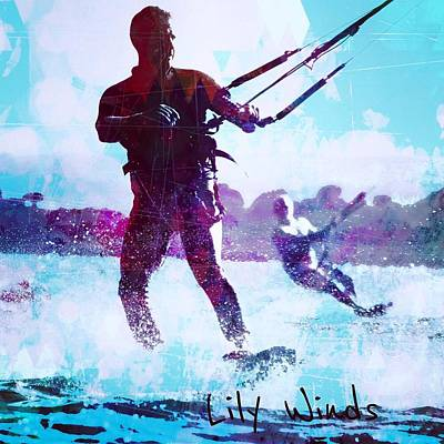 Kiteboarding Digital Art - Lily Winds Kiters Shadows by Lily Winds