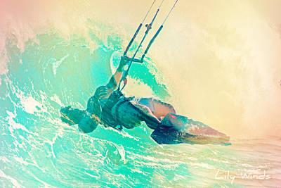 Kiteboarding Digital Art - Lily Winds Kitesurfing - Swell by Lily Winds