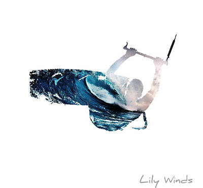 Lily Winds Kitesurfing White Art Art Print by Lily Winds