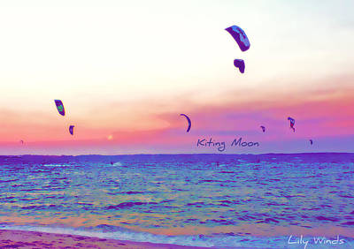 Lily Winds Kiting Moon Blue Art Print