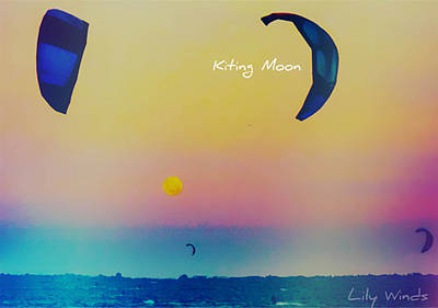 Lily Winds Kiting Moon Orange Art Print by Lily Winds
