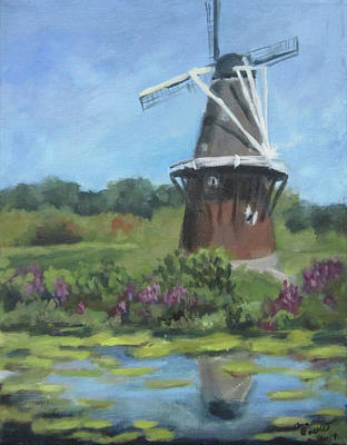 Painting - Lilypad River And Windmill by Anna Barnhart