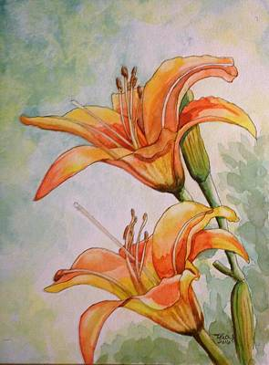 Tiger Lily Mixed Media - Lilys Early Morning Mist by Tracy Anthony