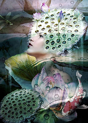 Erotica Mixed Media - Lily's Pond  by G Berry