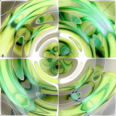 Painting - Lime And Green Abstract Collage by Tracey Harrington-Simpson